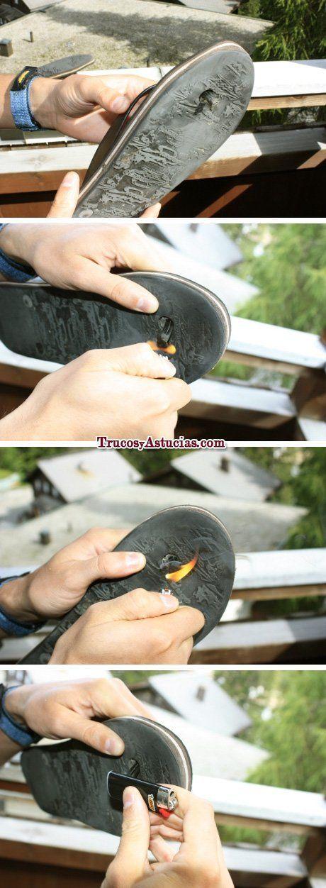 arreglar chanclas havaianas con un mechero