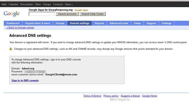 Código de autorización de Google Apps para desbloquear dominio de eNom - TrucosyAstucias.com