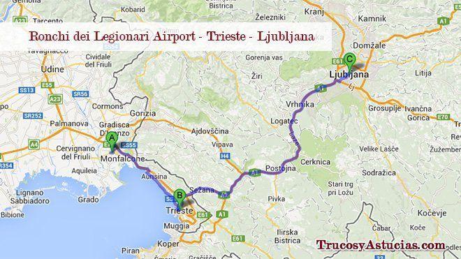Ir del aeropuerto de Trieste a Trieste y Ljubljana.