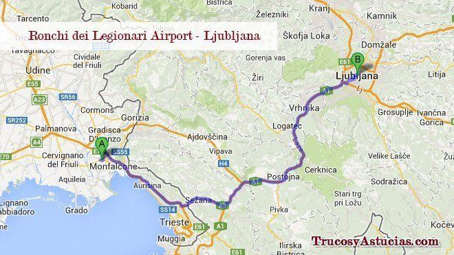 Cómo ir del aeropuerto de Trieste (Ronchi) a Ljubljana.