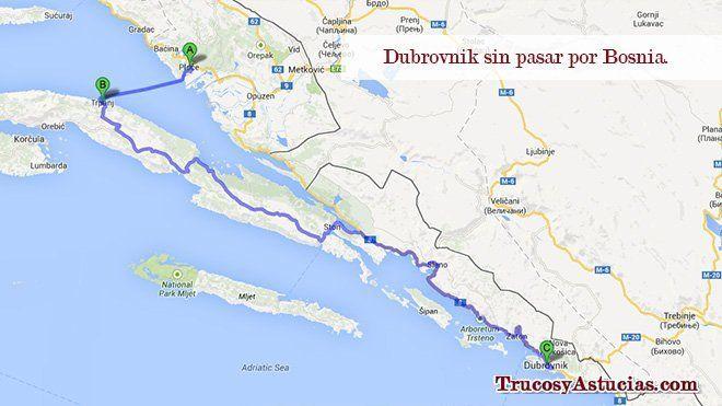 Llegar a Dubrovnik sin pasar por Bosnia