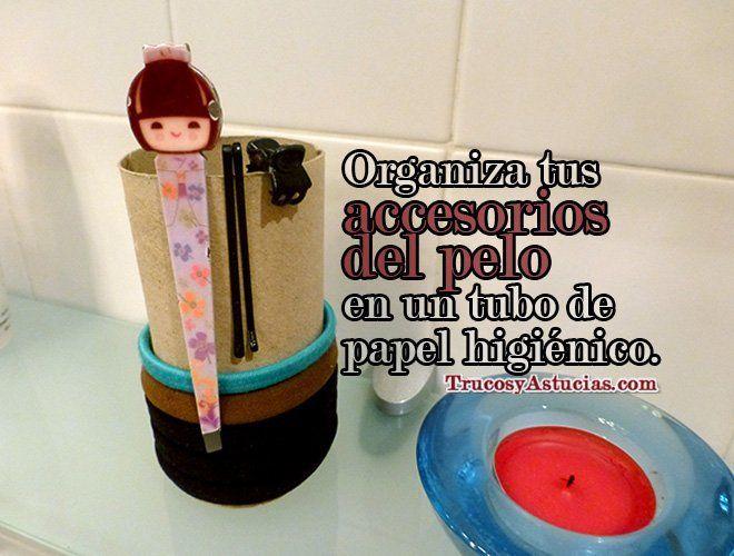 Guardar gomas de pelo y horquillas en un tubo de papel higiénico
