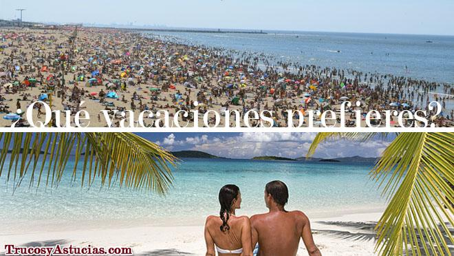 Playa llena de gente y pareja en una playa vacía - TrucosyAstucias.com
