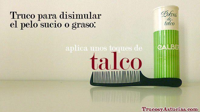 truco para disimular el pelo sucio o graso con polvos de talco