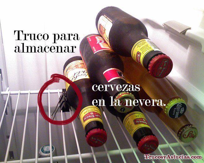 botellines de cerveza, Truco para almacenarlos en la nevera
