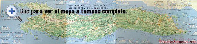 Mapa de Korcula con playas y excursiones.