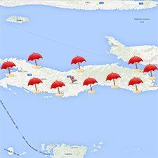 Mapa de playas de la isla de Korcula, Croacia