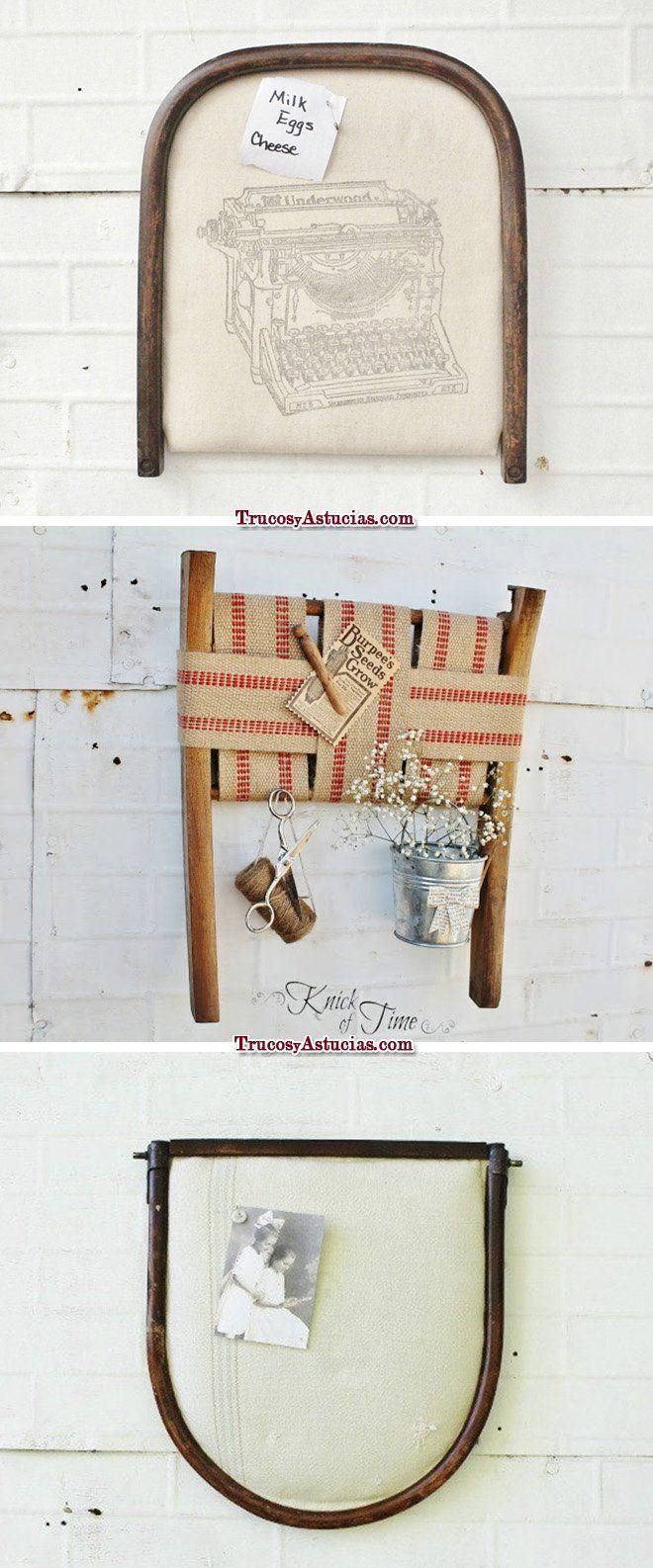 reciclar sillas: tableros de notas