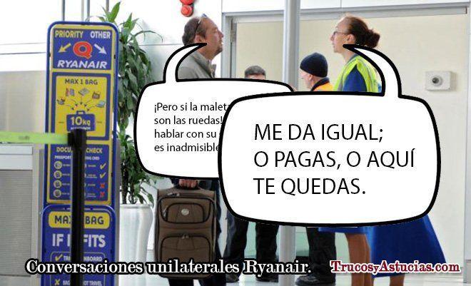 pasajero discutiendo con una azafata del embarque de Ryanair