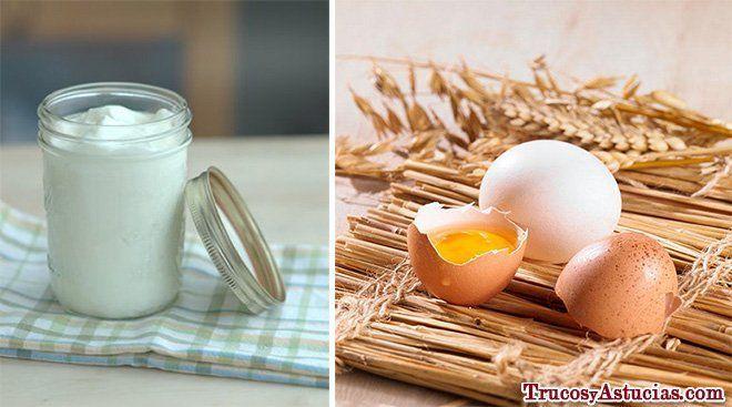 champú casero con yogur y huevo
