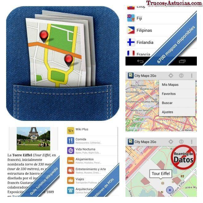 Viajar con mapa offline de city maps 2go