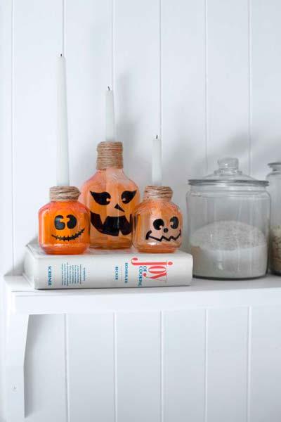 manualidad original para halloween: iluminacion original con velas para decorar