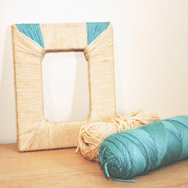 marco casero decorado con lanas