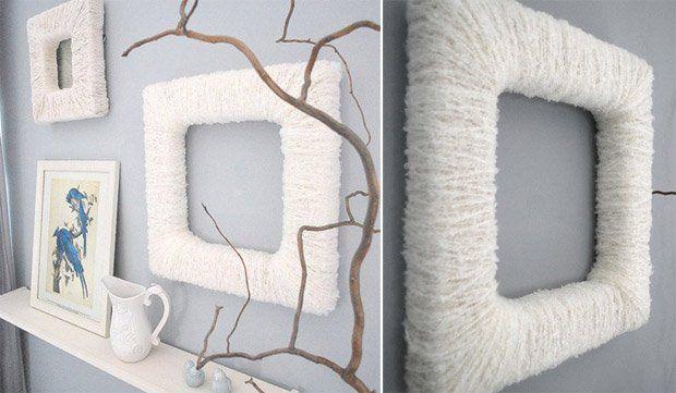 marco de fotos con lana