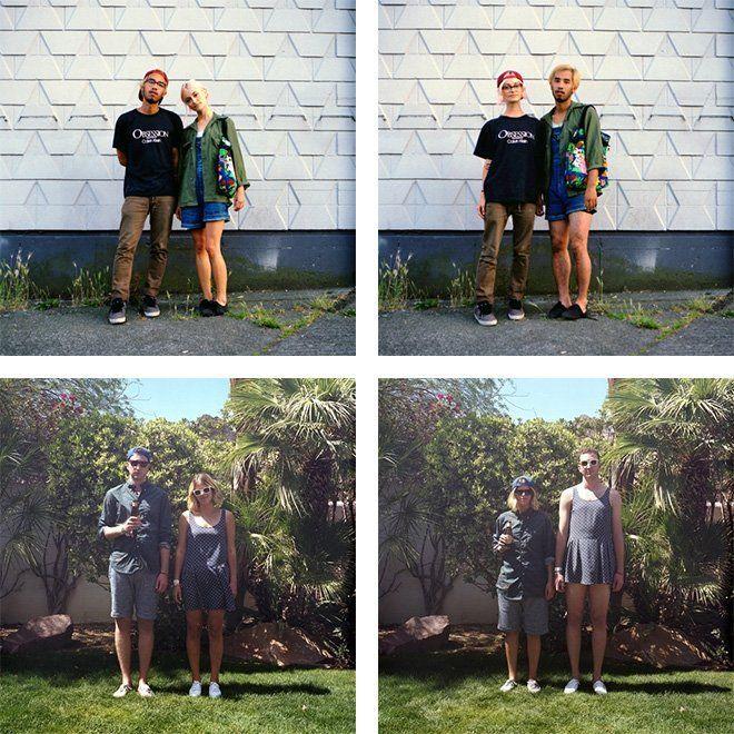 parejas que llevan ropa intercambiada