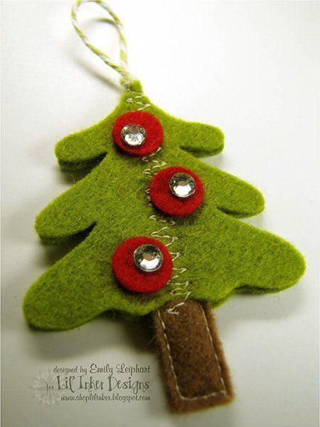 manualidad para hacer un árbol de navidad de fieltro