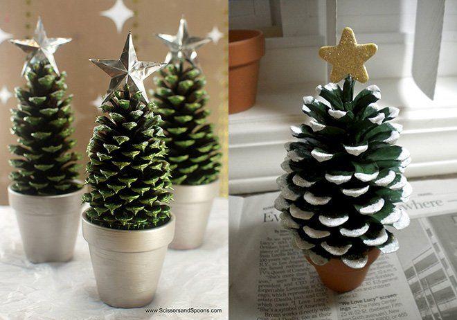 manualidades de árboles de navidad hechos con piñas