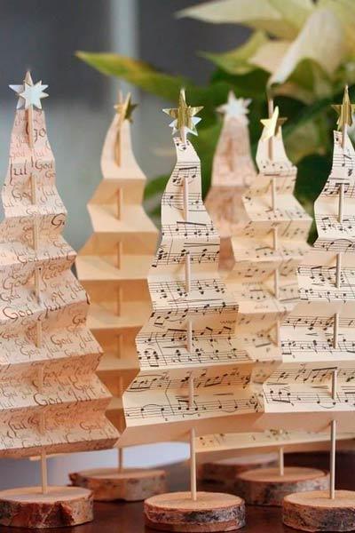 arboles de navidad pequeños con partituras
