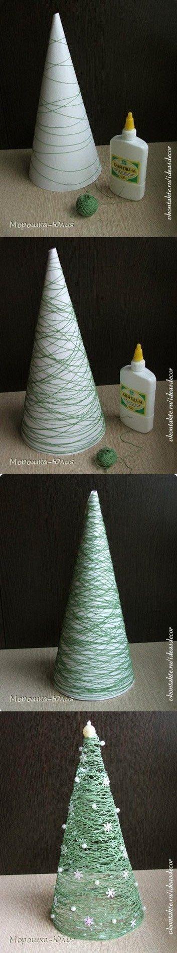 manualidad para hacer un árbol de Navidad con hilo