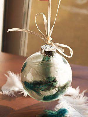 bolas de navidad de cristal con plumas