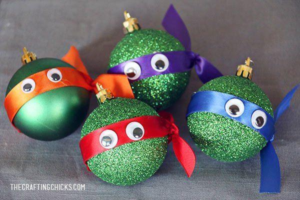 bolas de navidad con forma de las tortugas ninja