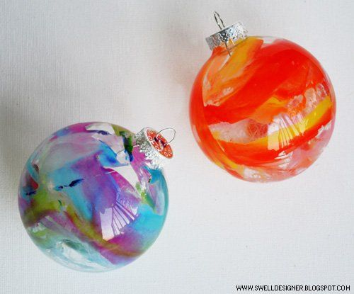 Bolas de Navidad decoradas con pintura