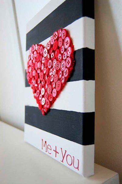 idea para regalar en San Valentín, día de los enamorados cuadro corazón hecho con