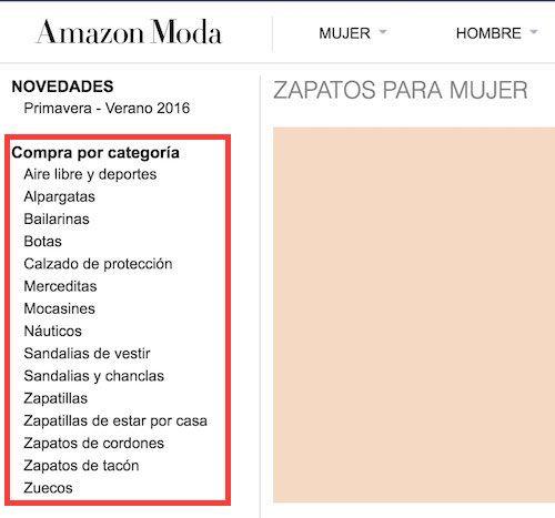 categorías de zapatos para mujer en amazon.es