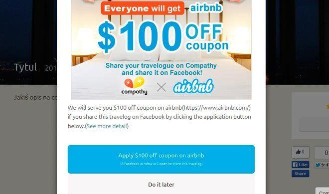 Paso 5 para conseguir un cupón de airbnb de 100$ con compathy