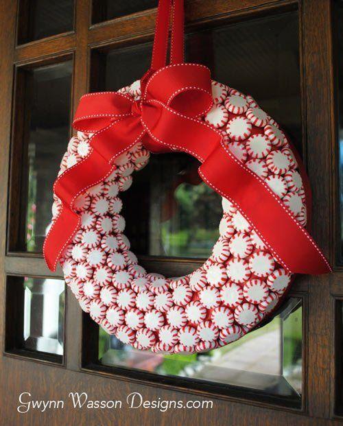 tutorial corona de navidad con caramelos sin papel