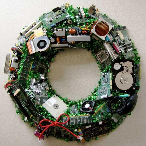 tutorial corona de navidad geek con microchips