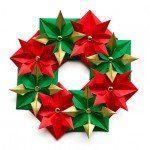 Cómo hacer una Corona de Navidad con Origami (papel doblado)