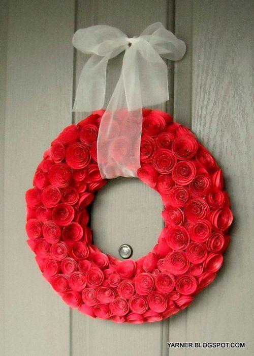 tutorial corona de navidad con rosas de papel o goma eva o foam