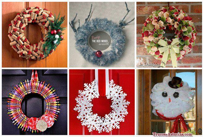 31 coronas de navidad originales instrucciones trucos y for Ideas para adornar puertas en navidad