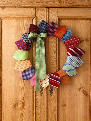 tutorial corona de navidad con corbatas