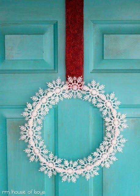 tutorial corona de navidad con copos de nieve