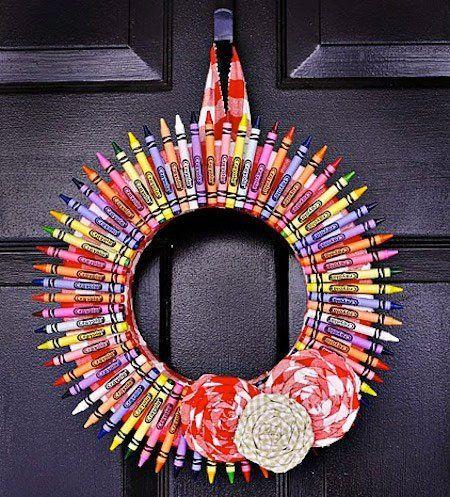 tutorial corona de navidad con lápices de colores crayon
