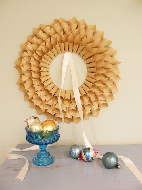 tutorial corona de navidad con cucuruchos de papel