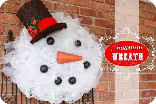 tutorial corona de navidad con forma de muñeco de nieve