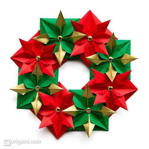 tutorial corona de navidad con origami