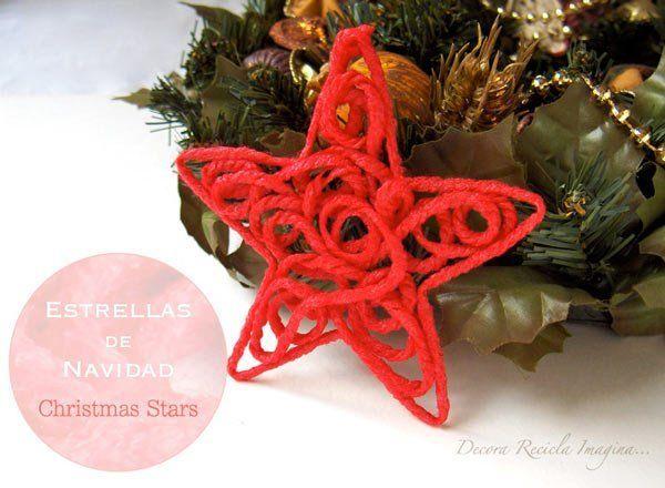 estrella de navidad hecha con lana de color