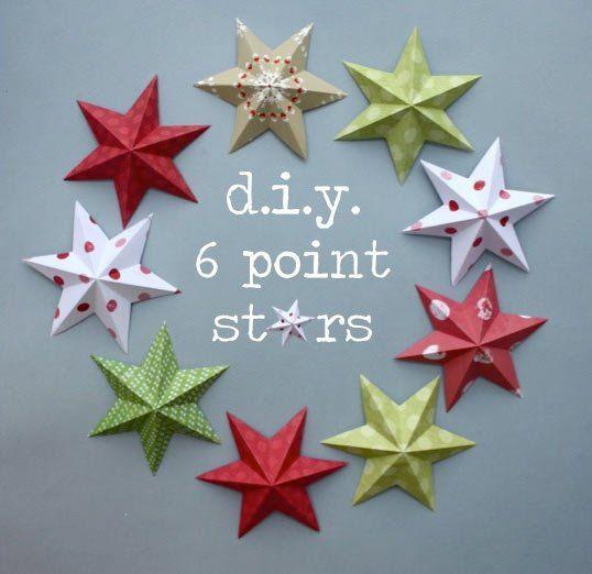 estrella de navidad de 6 puntas hecha con origami