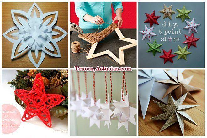 17 estrellas de navidad con tutoriales para hacerlas - Como hacer decoracion navidena para el hogar ...