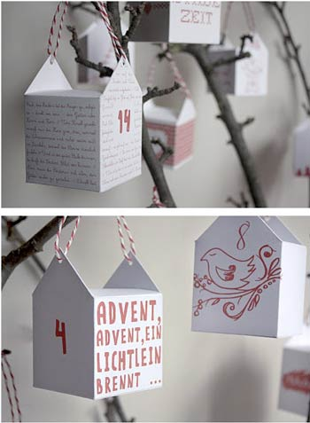 calendario de adviento original y fácil para colgar del árbol