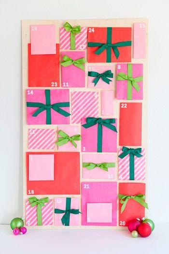 calendario adviento facil para hacer con niños, con sobres de papel de colores