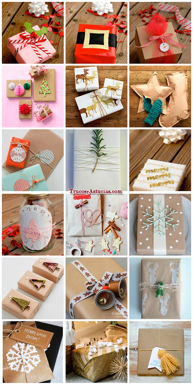 ideas para envolver regalos de navidad con papel de regalo y otros adornos