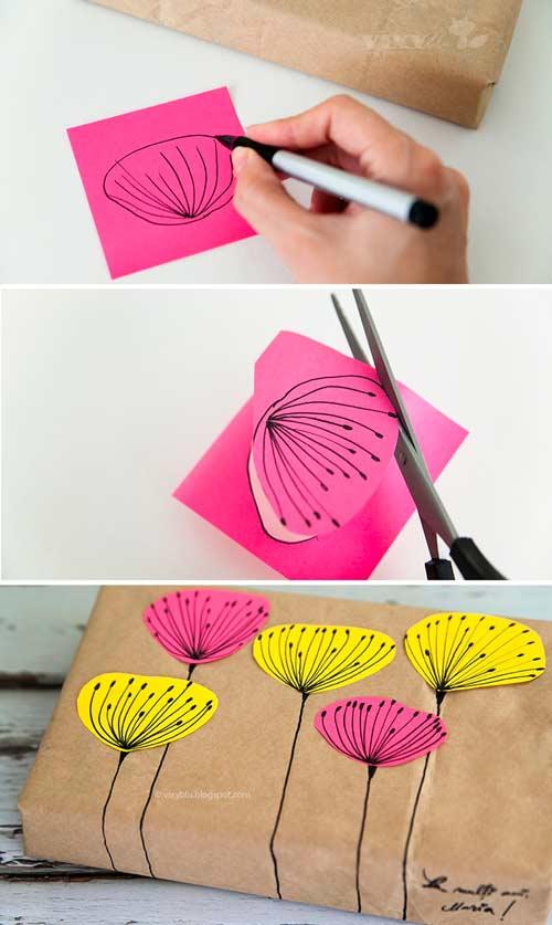 papel de regalo original con flores recortadas