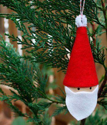 adorno para el árbol de Navidad con fieltro: papa noel