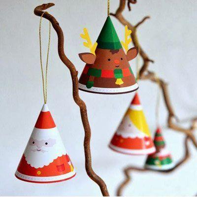 adornos para el árbol de Navidad con papel:  plantillas imprimibles