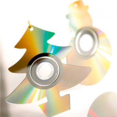 adorno navideño reciclando cds